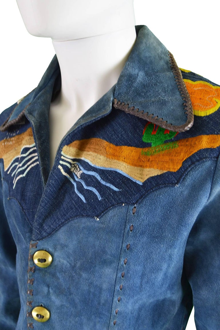 Men's Handcrafted Mens Vintage Embroidered Whip Stitched Suede and Denim Jacket, 1970s For Sale