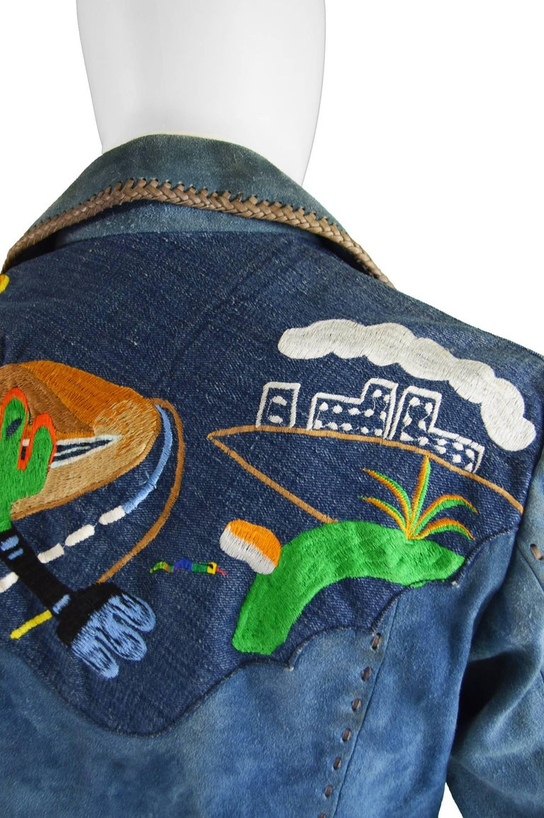Handcrafted Mens Vintage Embroidered Whip Stitched Suede and Denim Jacket, 1970s For Sale 3