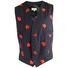 Paul Smith Men's Vintage Black & Red Embroidered Waistcoat, 1990s