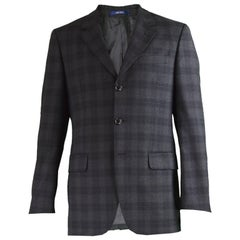 Kenzo Homme Men's Charcoal Grey & Black Checked Wool Blazer