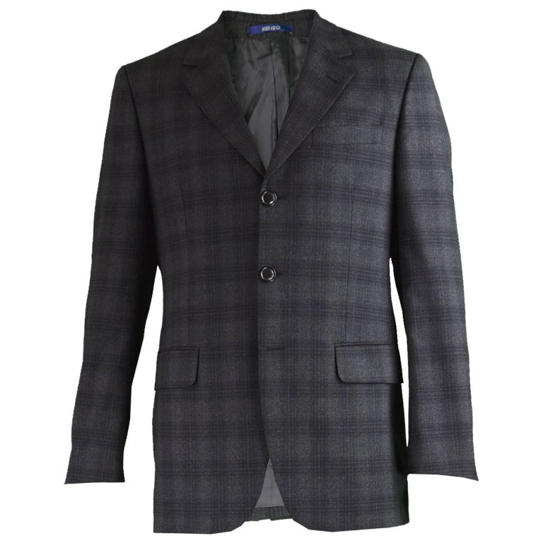 0f8e57b2d4d Kenzo Homme Men s Charcoal Grey and Black Checked Wool Blazer at 1stdibs