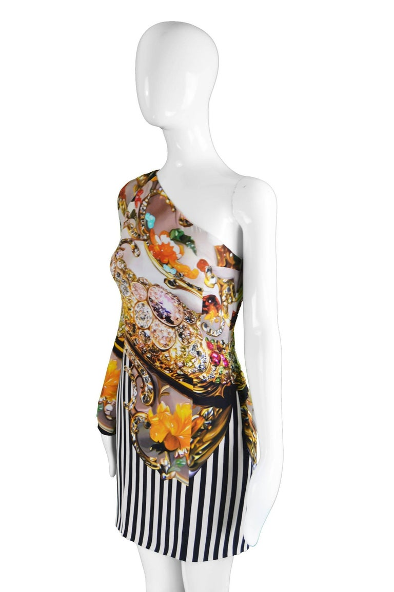 Unworn Mary Katrantzou Jewel Printed Silk One Shoulder