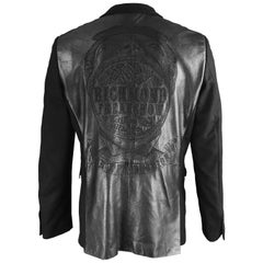 John Richmond Men's Black Embroidered Leather & Wool Blazer Jacket