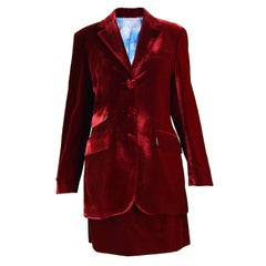 Moschino Deep Red Velvet Heart Button Skirt Suit & Cloud Silk Lining, 1990s