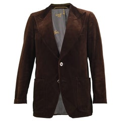 Angelo Litrico Men's Vintage Brown Velvet Wide Lapels Blazer Jacket, 1970s