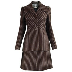 Marion Foale & Sally Tuffin Brown Wool Mod Striped Vintage Skirt Suit, 1960s