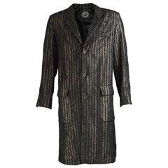 Tom Gilbey Men's Vintage Black & Gold Metallic Lamé Longline Jacket, 1980s