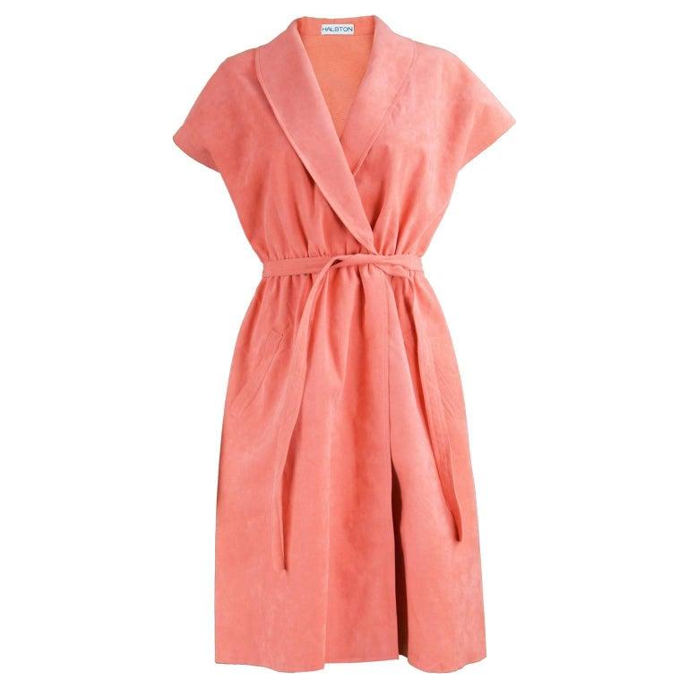 Halston Vintage Ultrasuede Coral Peach Cap Sleeve Dress, 1970s