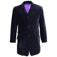 William Hunt of Saville Row Vintage Mens Blue Velvet Frock Coat, 1980s