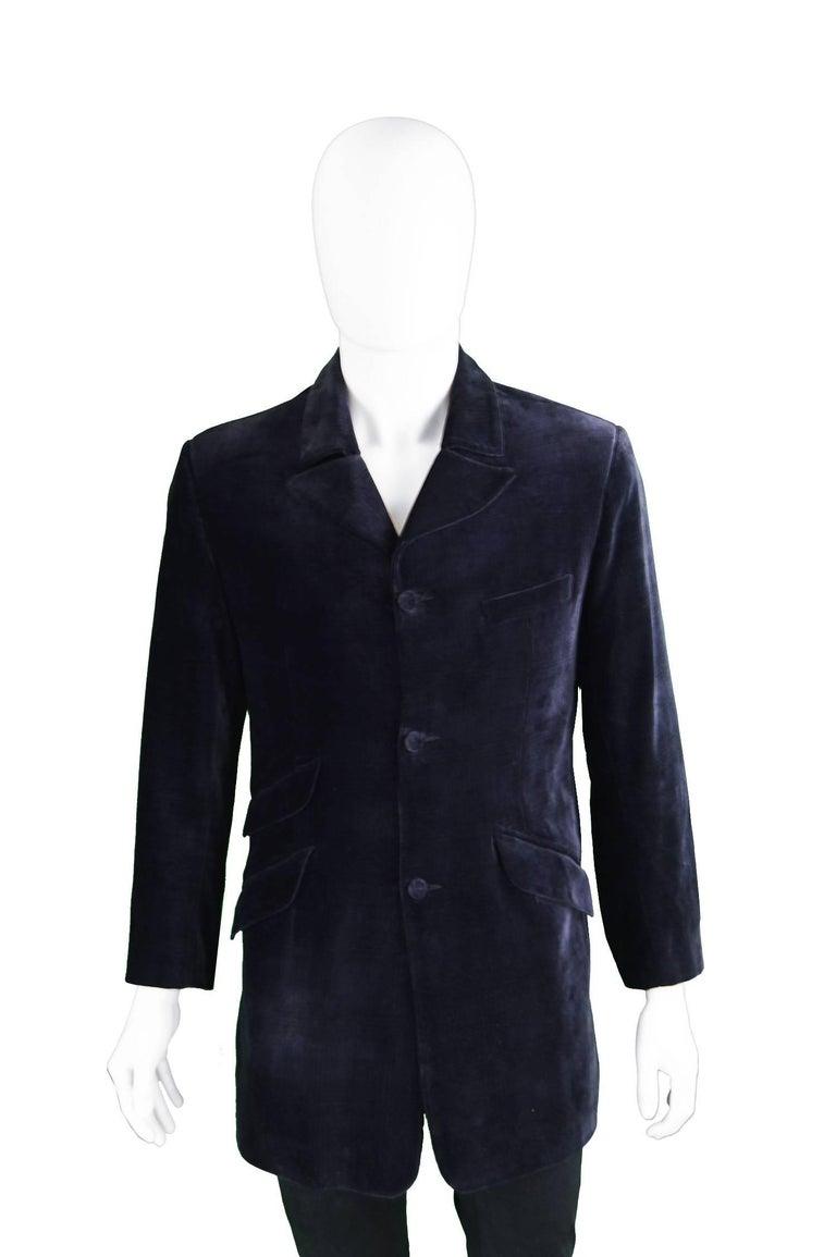 William Hunt of Saville Row Vintage Mens Blue Velvet Frock Coat ...