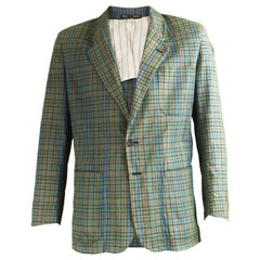 Paul Smith Mens Vintage Muticolored Checked Cotton Sport Coat Blazer, 1980s