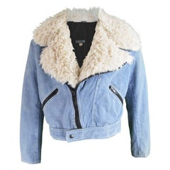 Lord John of Carnaby Street Mens Chambray Jacket with Faux Fur Collar, 1970s
