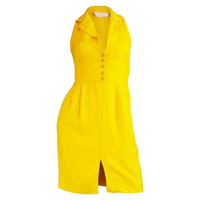 Carven Boutique Vintage Yellow Linen Mini Dress, 1960s
