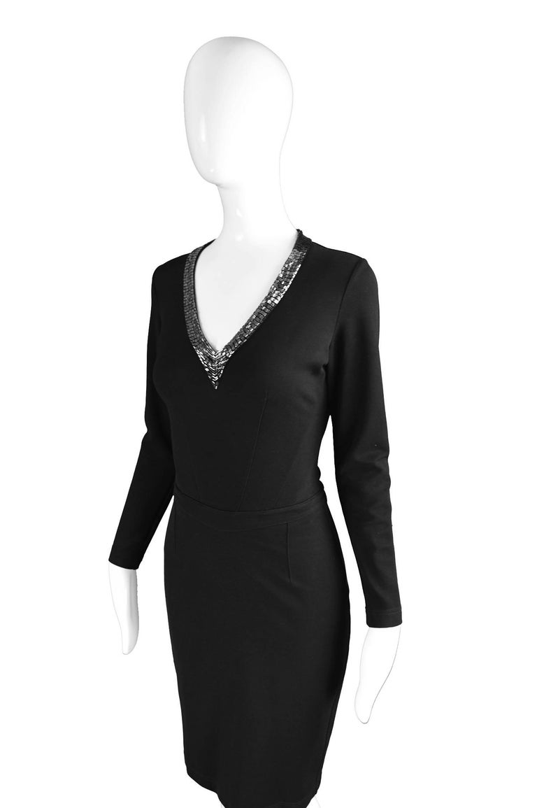Jasper Conran for Harrods Vintage Black Beaded Ponte Knit Dress, 1990s In Excellent Condition For Sale In Doncaster, South Yorkshire