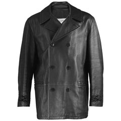 Gianni Versace Men's Black Leather Double Breasted Jacket, A/W 2002