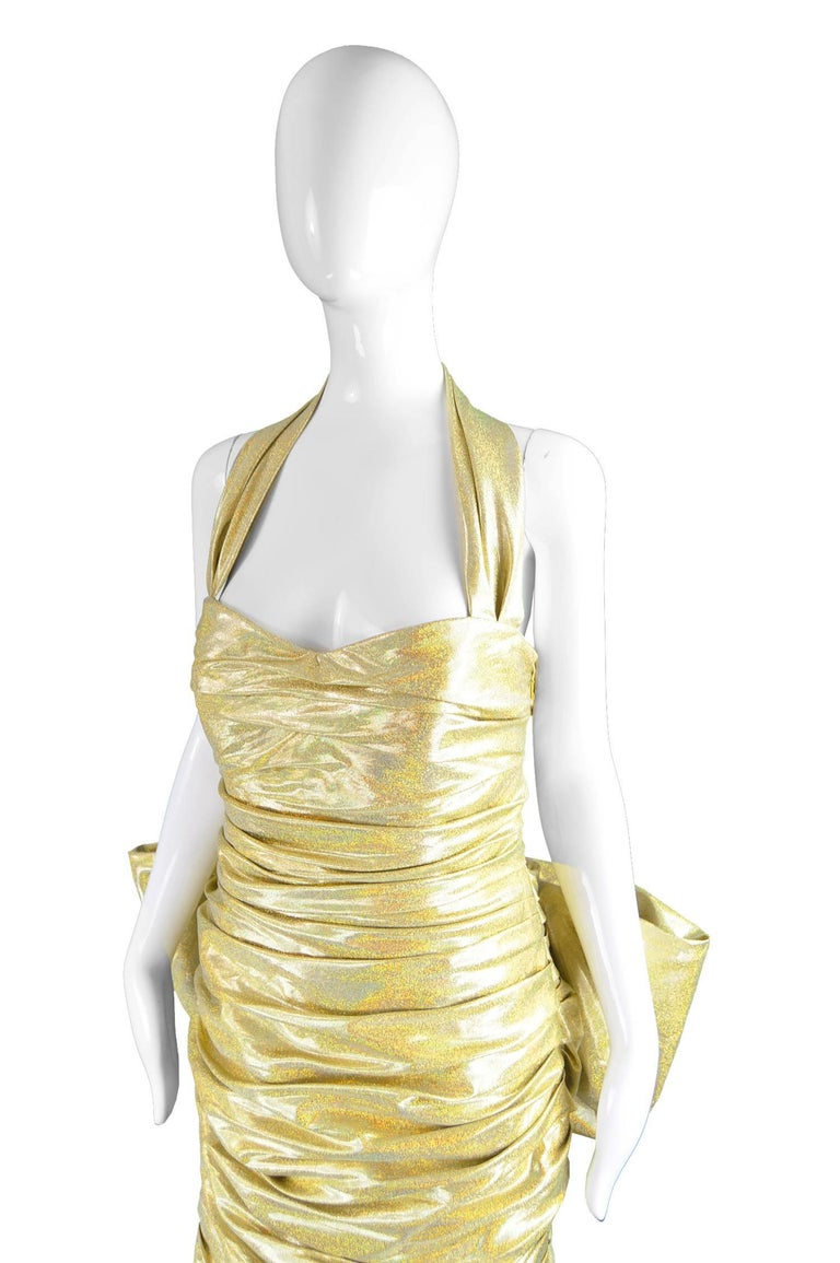 Women's or Men's Moschino Couture Gold Barbie Collection Evening Gown, Spring 2015 For Sale