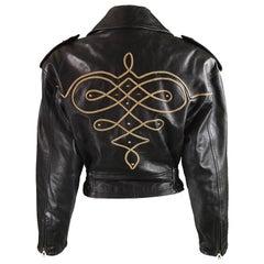 Byblos Women's Black Appliquéd Italian Leather Biker Jacket, A/W 1992