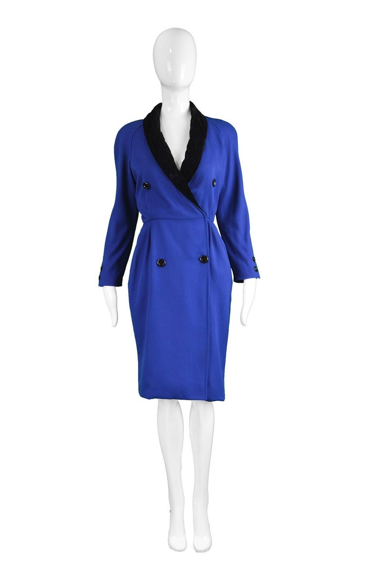 """Valentino Vintage Blue Wool Dress with Black Velvet Shawl Collar, 1980s  Estimated Size: UK 8/ US 4/ EU 36. Please check measurements.  Bust - up to 36"""" / 91cm (meant to have a looser fit on top) Waist - 26"""" / 66cm Hips - 36"""" / 91cm Length (Shoulder"""