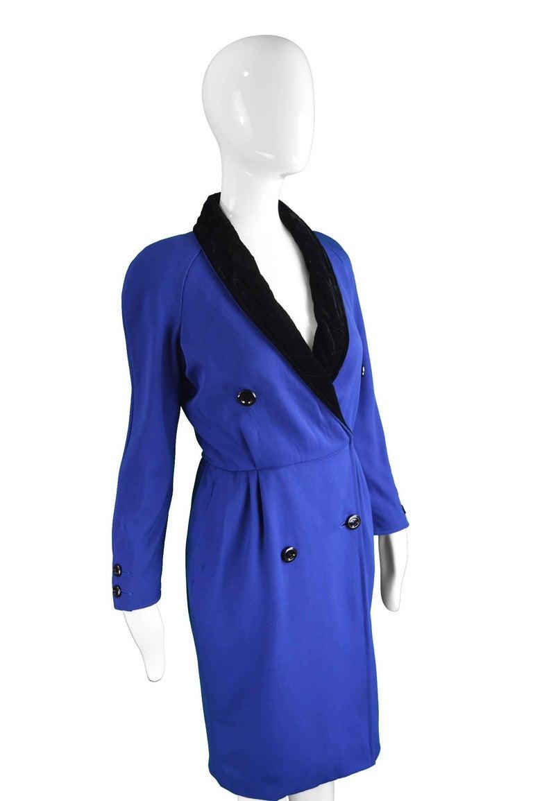 Purple Valentino Vintage Blue Wool Dress with Black Velvet Shawl Collar, 1980s For Sale
