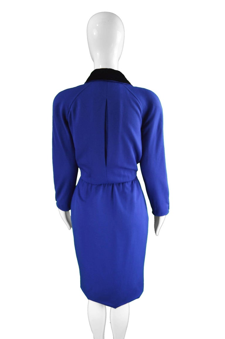 Women's Valentino Vintage Blue Wool Dress with Black Velvet Shawl Collar, 1980s For Sale