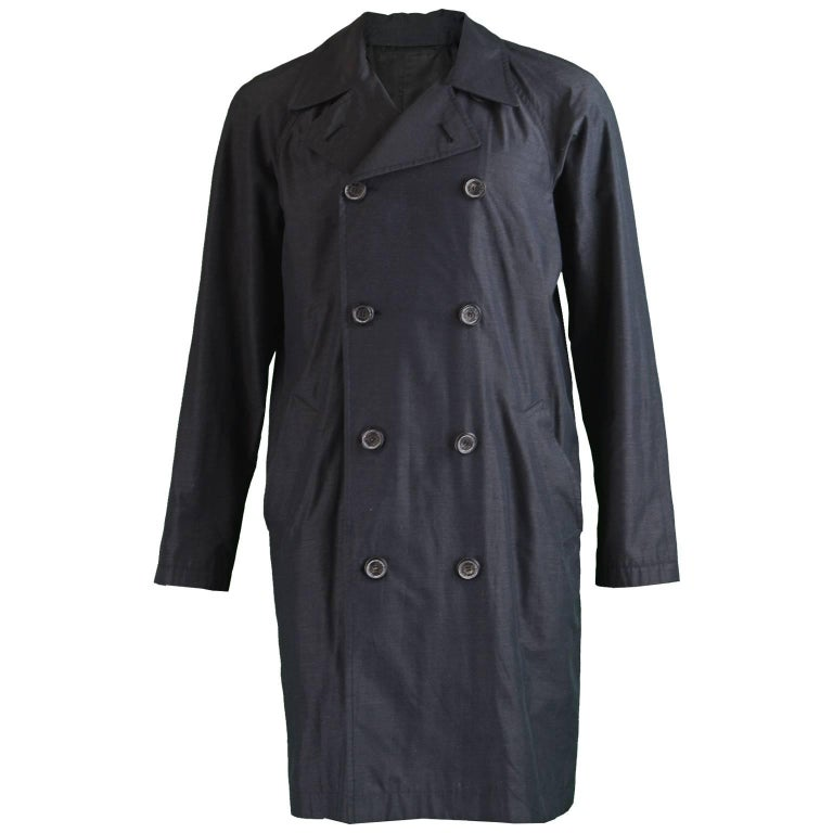 1c3dbbbbcac Yves Saint Laurent Mens Vintage Charcoal Gray Silk Trench Coat, 1980s For  Sale