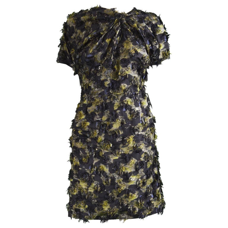 Marni Fuzzy Textured Gathered Silk Short Sleeve Party Dress, A/W 2010