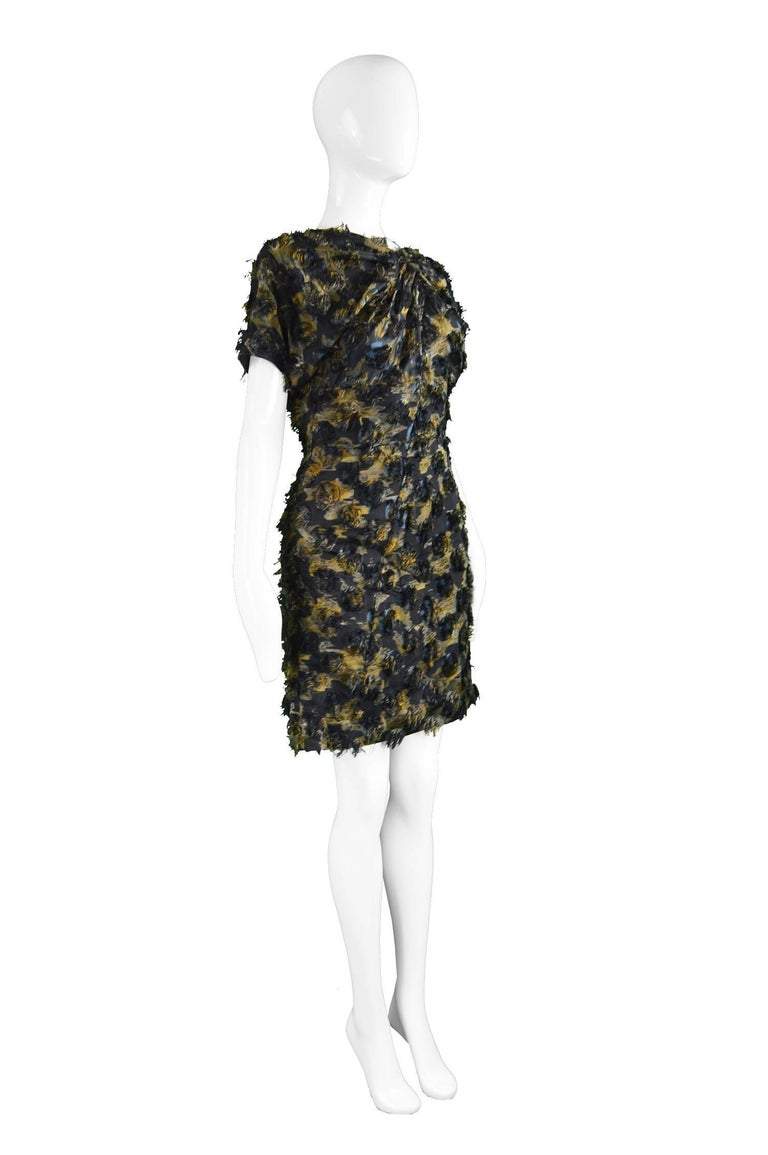 Women's Marni Fuzzy Textured Gathered Silk Short Sleeve Party Dress, A/W 2010 For Sale