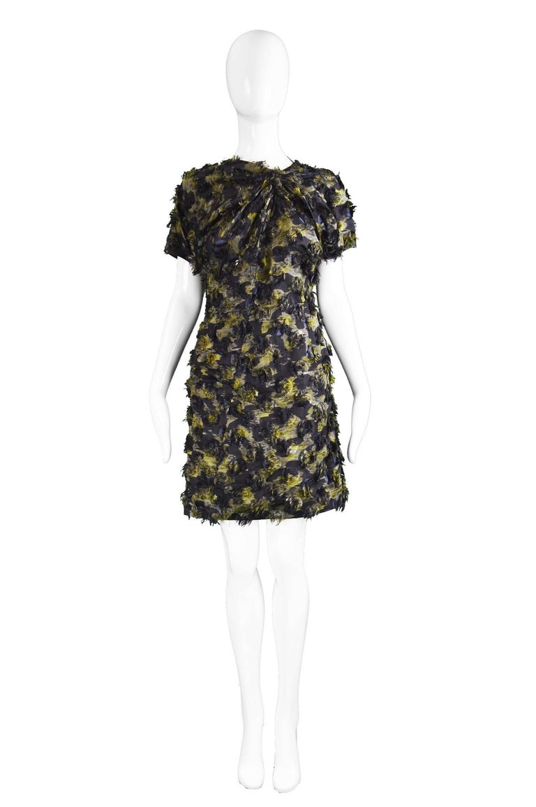 """Marni Fuzzy Textured Gathered Silk Short Sleeve Party Dress, A/W 2010  Please Click +CONTINUE READING to see measurements, description and condition.  Size: Marked 38 which is roughly a UK 10-12/ US 6-8. Please check measurements. Bust - Up to 40"""" /"""