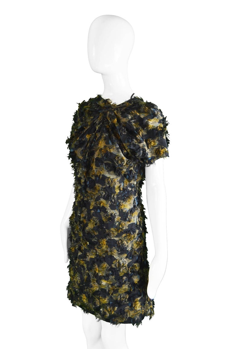 Marni Fuzzy Textured Gathered Silk Short Sleeve Party Dress, A/W 2010 For Sale 1
