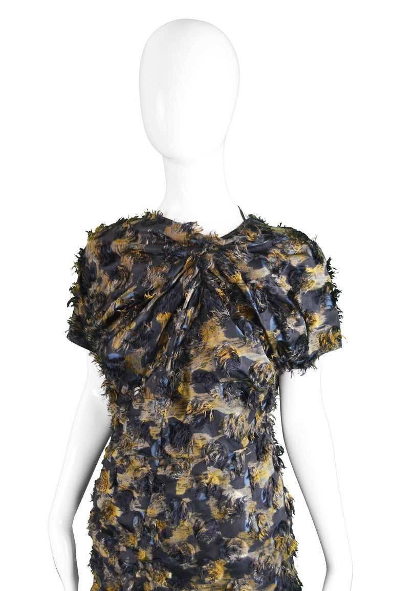 Marni Fuzzy Textured Gathered Silk Short Sleeve Party Dress, A/W 2010 In Excellent Condition For Sale In Doncaster, South Yorkshire