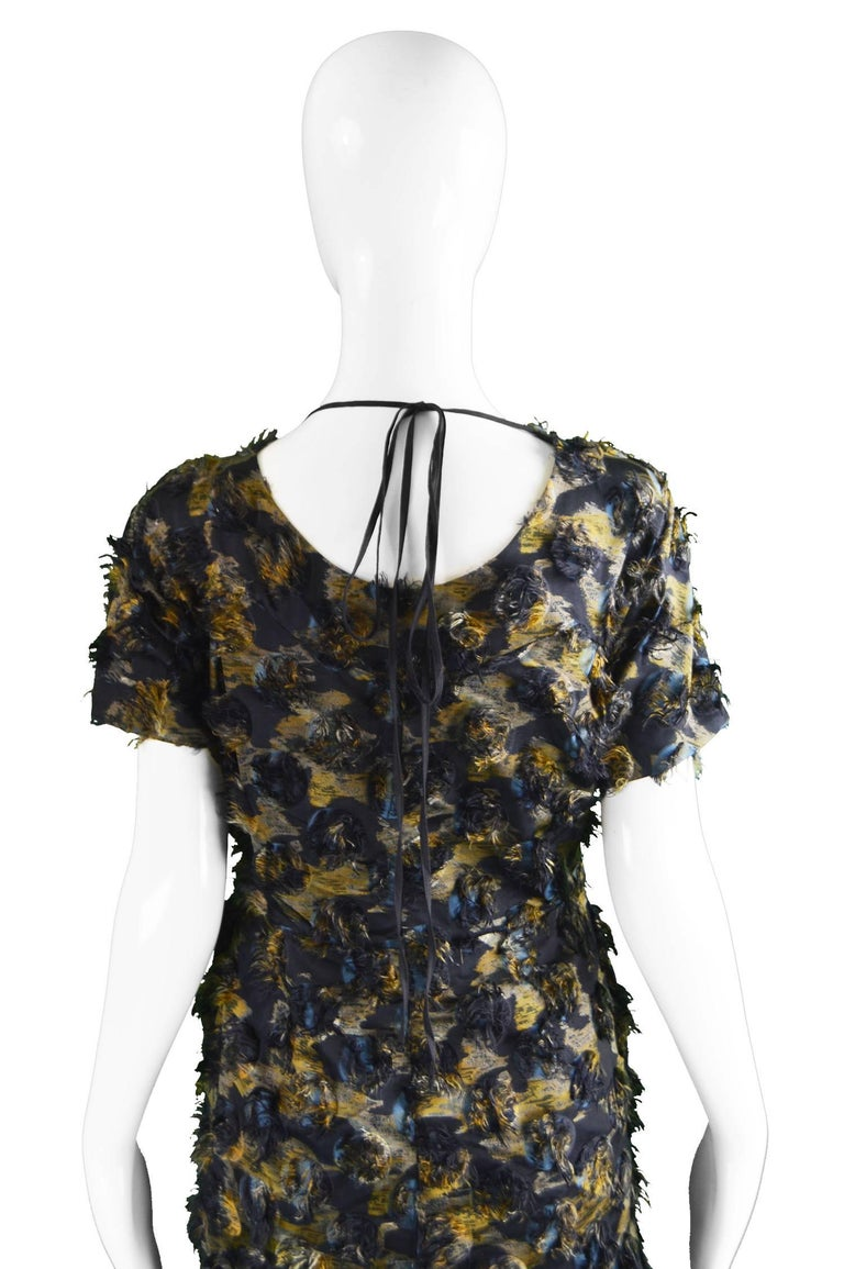 Marni Fuzzy Textured Gathered Silk Short Sleeve Party Dress, A/W 2010 For Sale 3