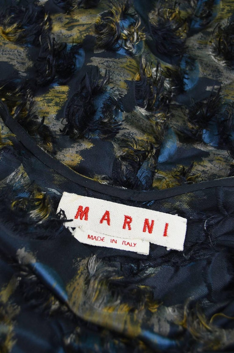 Marni Fuzzy Textured Gathered Silk Short Sleeve Party Dress, A/W 2010 For Sale 4