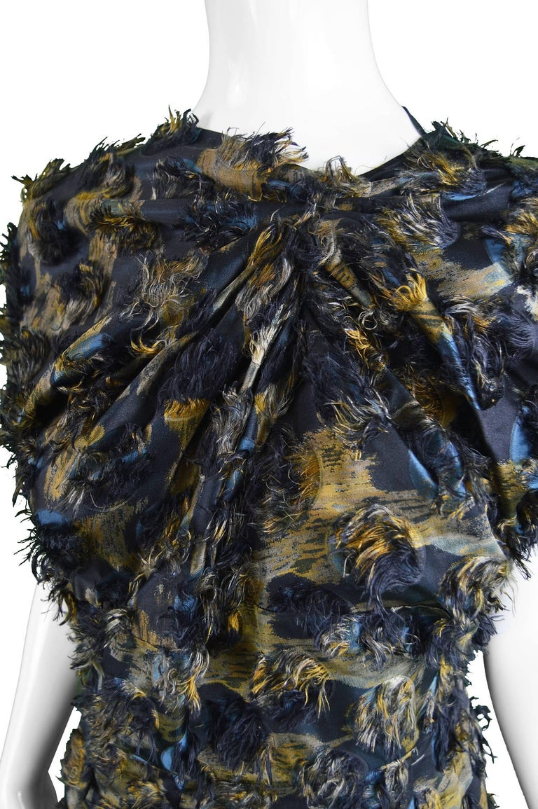 Black Marni Fuzzy Textured Gathered Silk Short Sleeve Party Dress, A/W 2010 For Sale