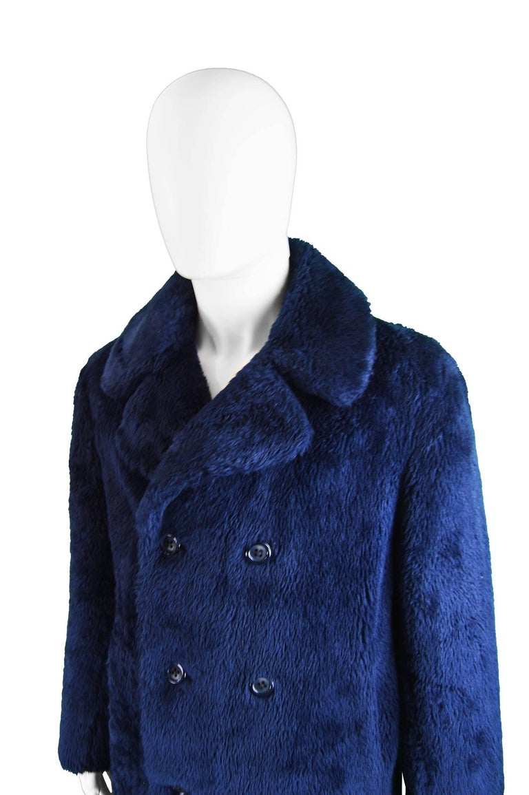 Men S Vintage Dark Blue Double Breasted Faux Fur Pea Coat