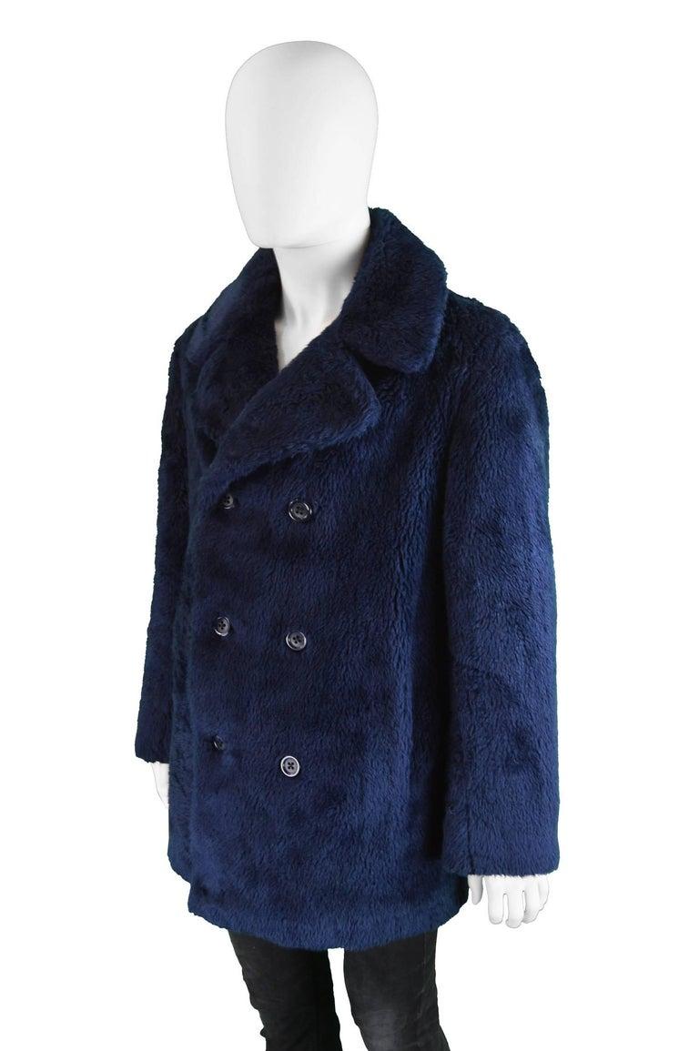 Men S Vintage Dark Blue Double Breasted Faux Fur Pea Coat