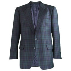 Burberry Vintage Men's Checked Tartan Wool Single Breasted Blazer, 1980s