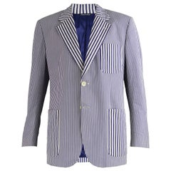 Moschino Vintage Mens Cotton Poplin Optical Illusion Striped Jacket, c. 1997
