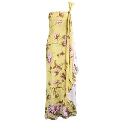 Valentino Yellow & Baby Pink Floral Silk One Shoulder Maxi Gown, Spring 2006