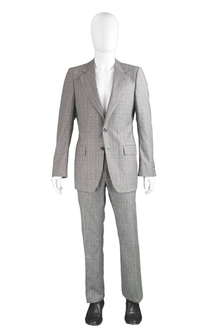 Yves Saint Laurent Men's Gray Wool Prince of Wales Check 2 Piece Suit  Please Click +CONTINUE READING to see measurements, description and condition.   Size: Marked 48R which is roughly a men's Small but trousers look to have been let out. Please