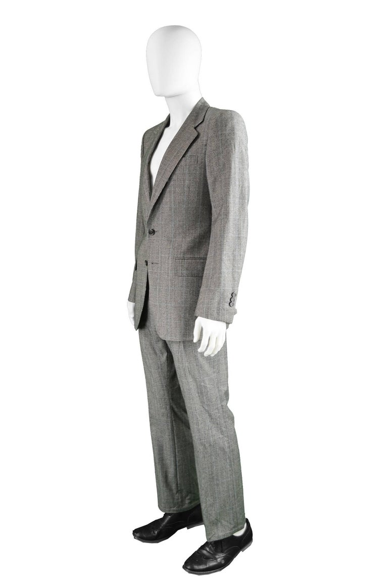 Yves Saint Laurent Men's Gray Wool Prince of Wales Check 2 Piece Suit For Sale 4
