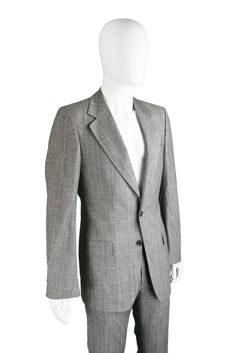 Yves Saint Laurent Men's Gray Wool Prince of Wales Check 2 Piece Suit For Sale 2