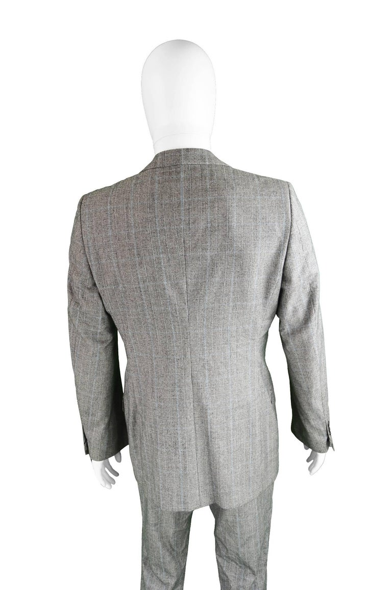 Yves Saint Laurent Men's Gray Wool Prince of Wales Check 2 Piece Suit For Sale 5