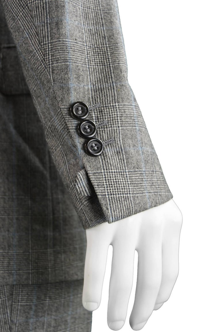 Yves Saint Laurent Men's Gray Wool Prince of Wales Check 2 Piece Suit 6