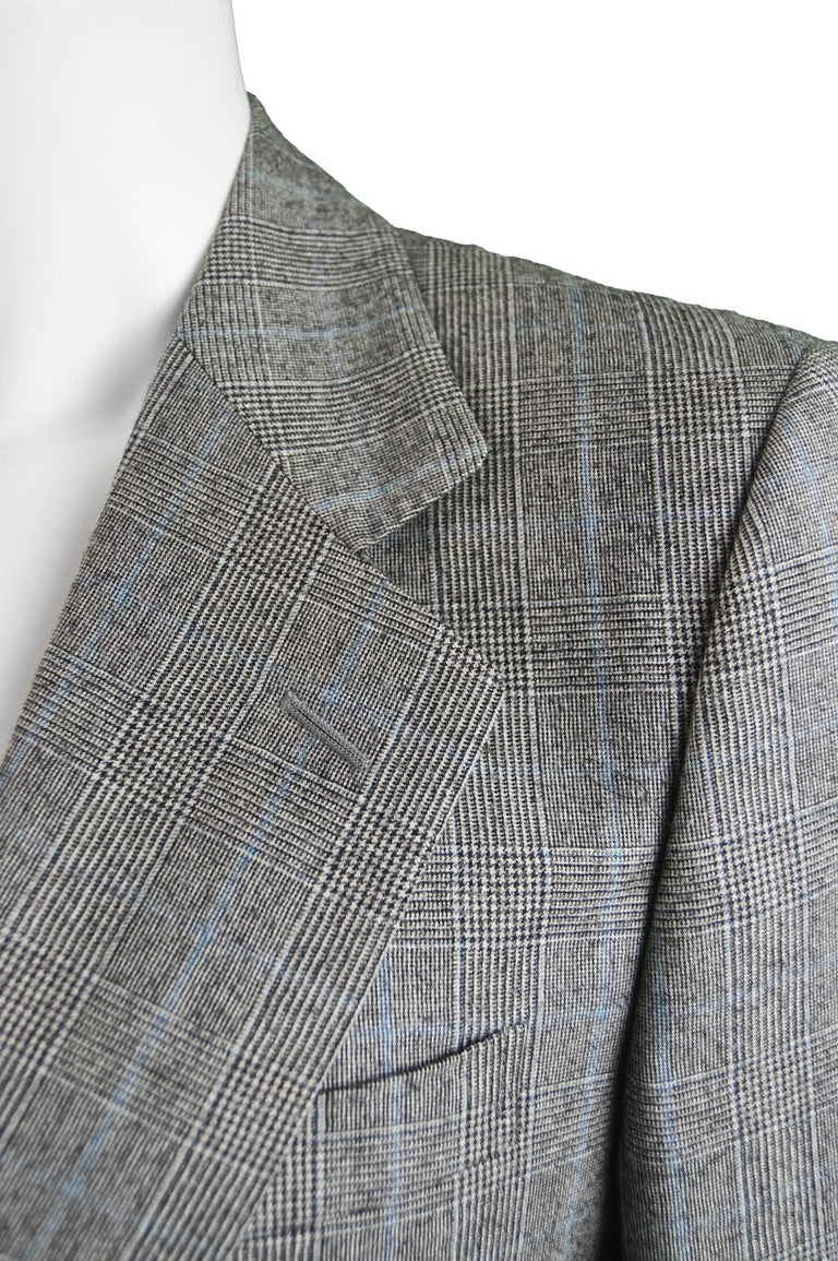 Yves Saint Laurent Men's Gray Wool Prince of Wales Check 2 Piece Suit For Sale 1
