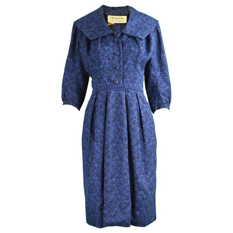 Christian Dior Vintage Blue & Black Wide Sailor Collar Dress, c.1954 1