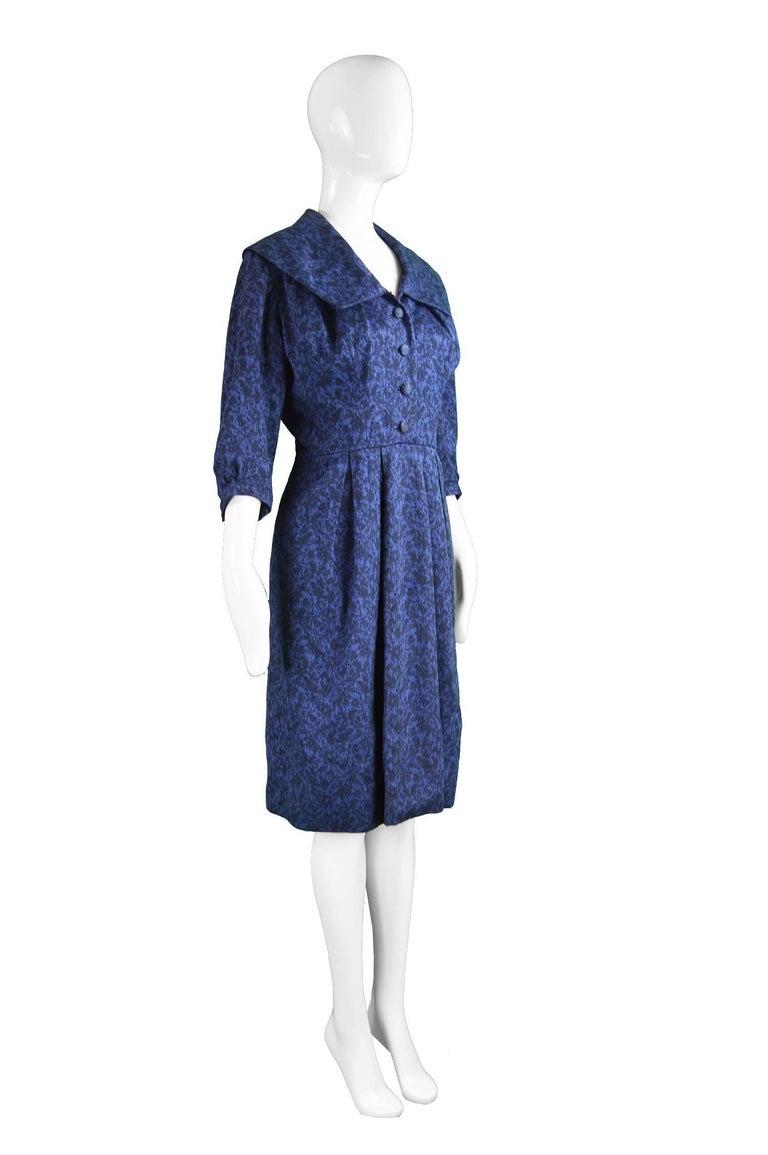 Christian Dior Vintage Blue & Black Wide Sailor Collar Dress, c.1954 6