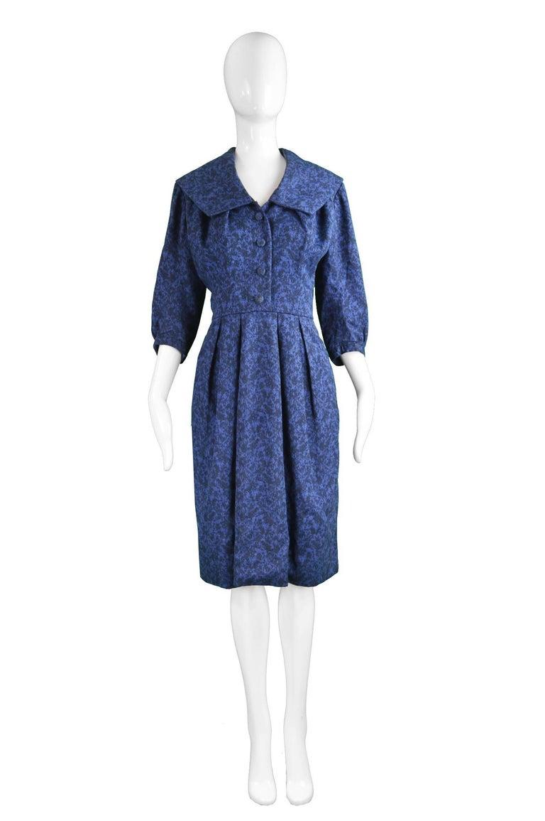 Christian Dior Vintage Blue & Black Wide Sailor Collar Dress, c.1954 2