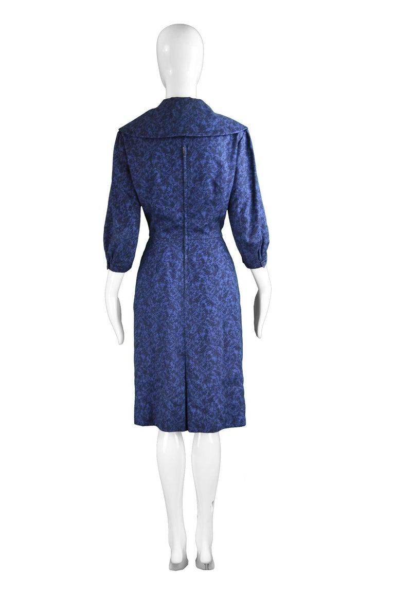 Christian Dior Vintage Blue & Black Wide Sailor Collar Dress, c.1954 7