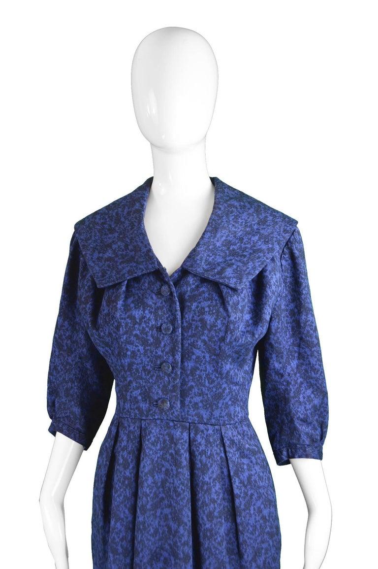 Christian Dior Vintage Blue & Black Wide Sailor Collar Dress, c.1954 4