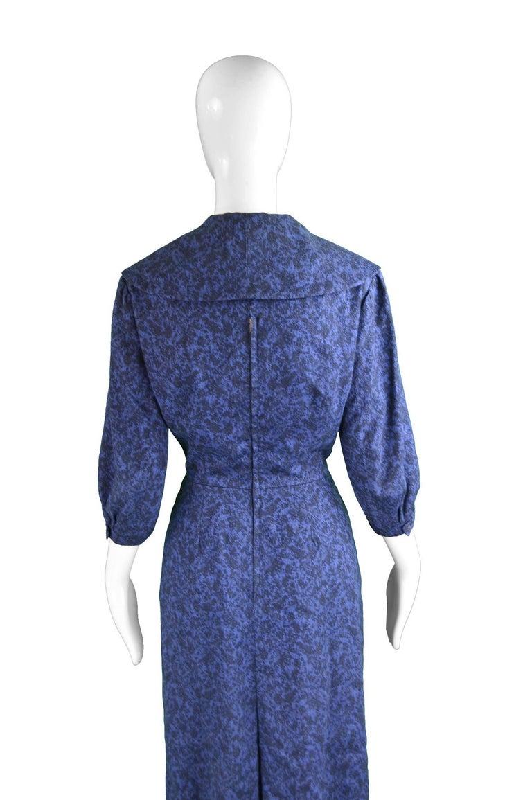 Christian Dior Vintage Blue & Black Wide Sailor Collar Dress, c.1954 8